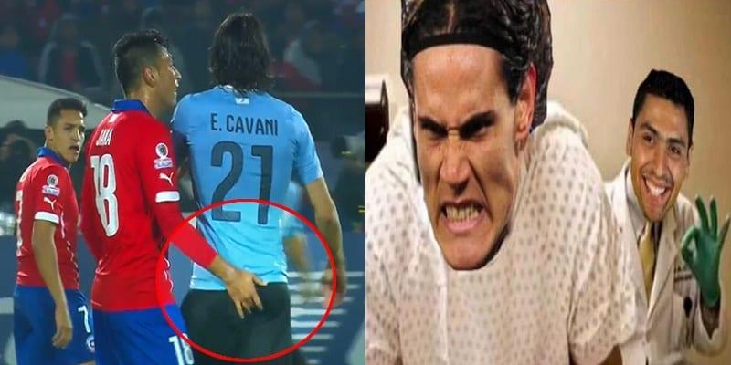 Photo de Copa America : pendant la rencontre un joueur Chilien met le doigt dans les f*sses de Cavani