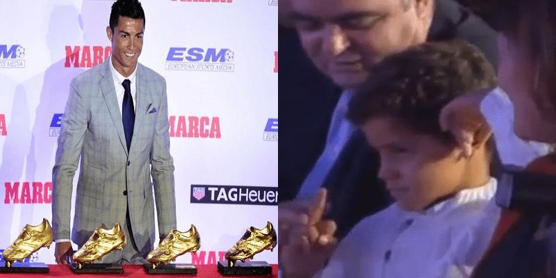 Photo de Le fils de Cristiano Ronaldo fait un doigt d'honneur à son père