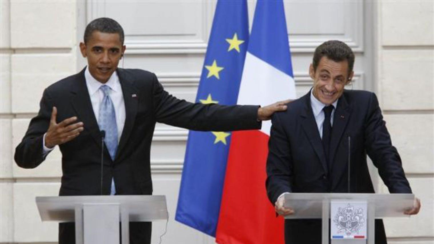Photo de Sarkozy se moque d'Obama sur le conflit Libyen