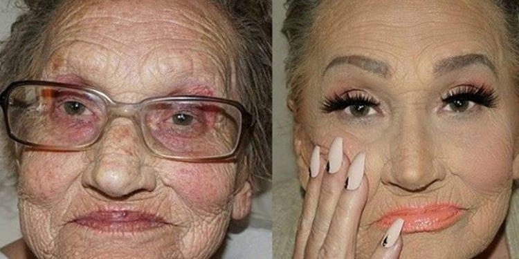 Photo de Elle maquille sa grand-mère de 80 ans, le résultat est surprenant (voir photos)