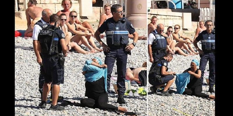 Photo de France: La police ordonne à une musulmane de retirer son burkini sur la plage à Nice (PHOTOS)