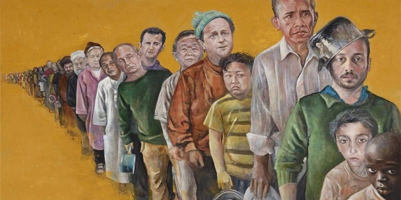 Photo de Pour dépeindre la situation des réfugiés syriens, un peintre fait des peintures des chefs d'Etats en SDF
