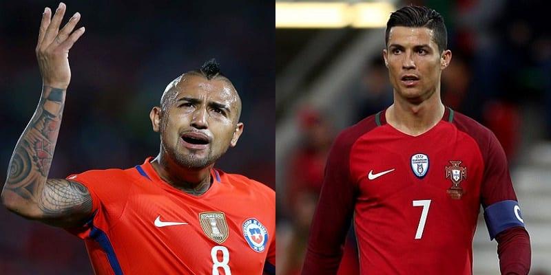 Photo de Coupe des Confédérations: Arturo Vidal s'attaque violemment à Cristiano Ronaldo