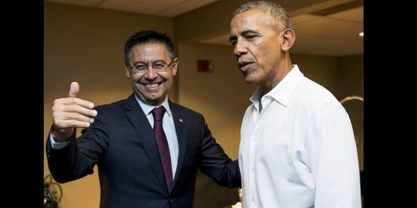 Photo de Football: Barack Obama au côté du président du FC Barcelone…la raison