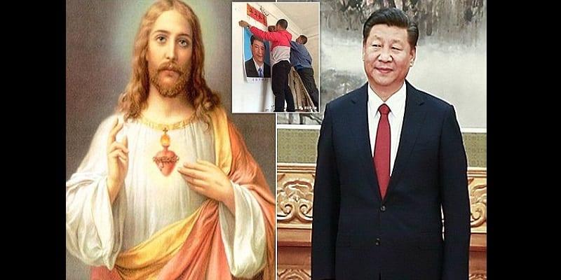 Photo de Chine: le gouvernement oblige les chrétiens à remplacer les images de Jésus par des portraits du président