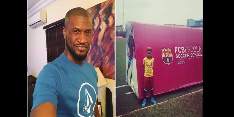 Photo de Peter Okoye: son fils admis à l'école de formation du FC Barcelone (photos)