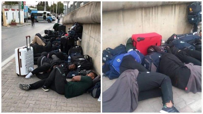Photo de Tunisie : Incroyable, l'équipe de rugby du Zimbawe dort dans la rue. La raison (Photos)