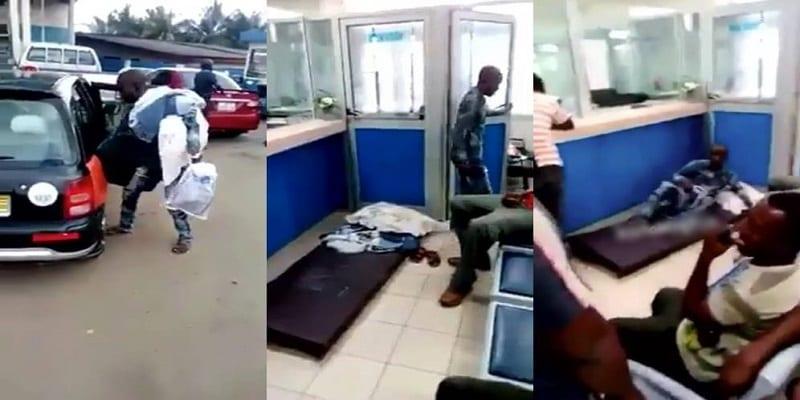 Photo de Ghana: incapable de retirer son argent, il se rend à la banque avec un matelas- VIDÉO