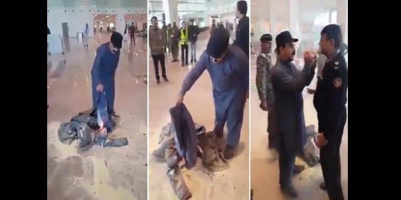 Photo de Un ministre pakistanais brûle ses vêtements à l'aéroport (vidéo)
