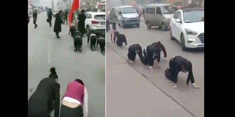 Photo de Chine: Des employés forcés à ramper dans la rue. La raison!(vidéo)