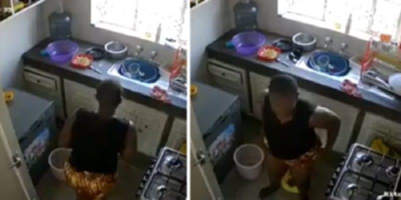 Photo de VIDÉO: Une femme de ménage filmée en train de déféquer dans une cuisine