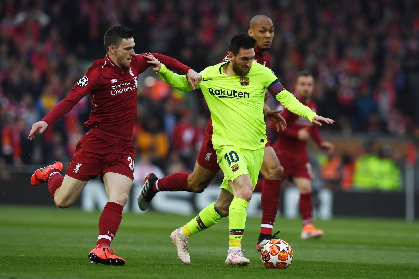 Photo de Liverpool-Barça : Messi mécontent d'un mauvais geste de Robertson (vidéo)