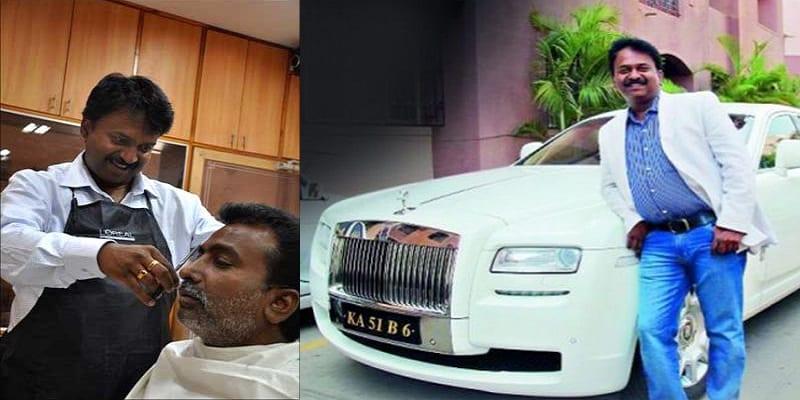 Photo de Ramesh, le coiffeur indien qui se rend dans son salon en Rolls-Royce Ghost