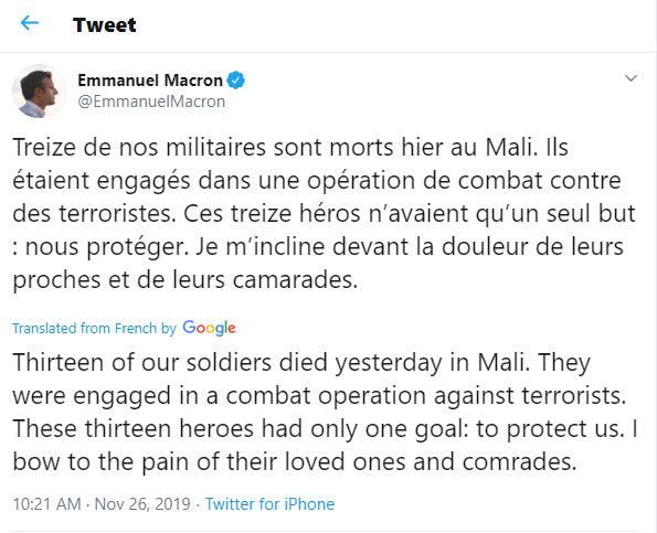 Mali: 13 soldats français tués dans le crash d'un hélicoptère