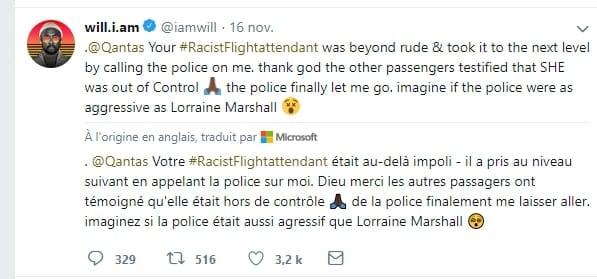 Le chanteur Will.i.am victime de racisme à bord d'un avion