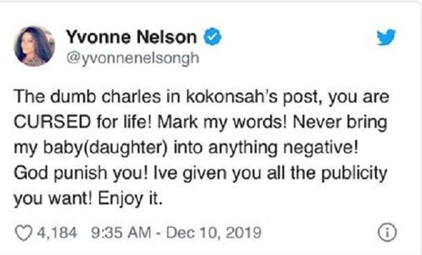 Yvonne Nelson maudit un de ses fans qui évoque le nom de sa fille