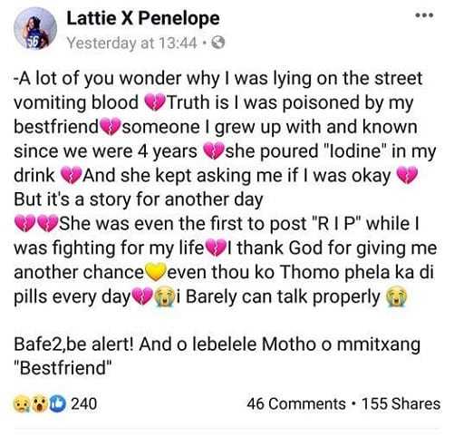 Une jeune femme raconte comment elle a été empoisonnée par sa meilleure amie