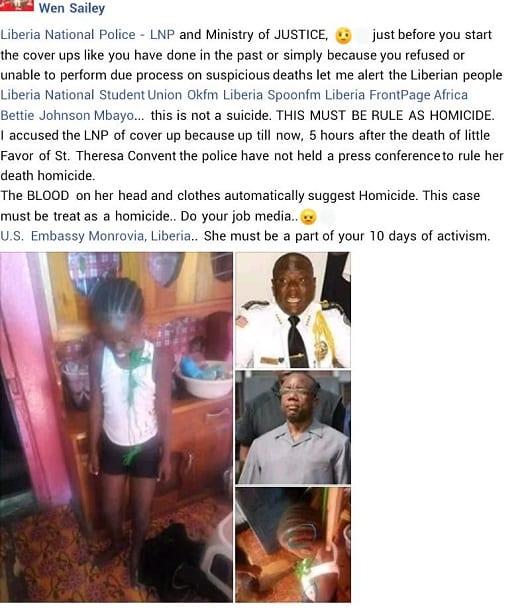 Liberia: une fillette de 9 ans retrouvée pendue dans la chambre de ses parents