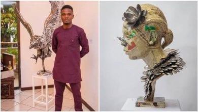 Photo de Abinoro Collins: le Nigérian qui réalise d'incroyables sculptures grandeur nature avec des cuillères