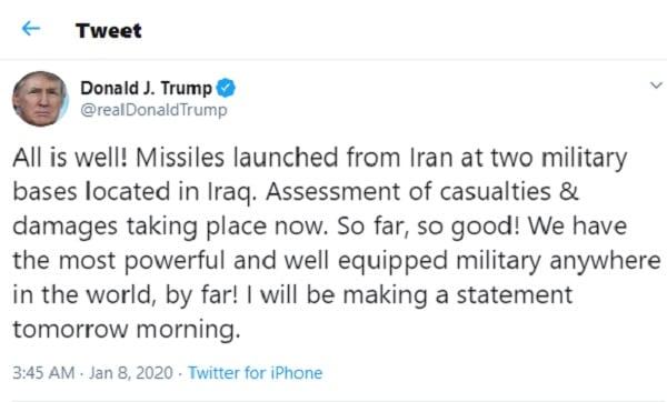 Riposte de l'Iran: deux bases de l'armée américaine touchées par plusieurs roquettes
