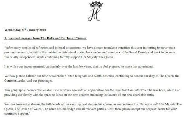 Angleterre: Prince Harry et Meghan renoncent à leur rôle de premier plan dans la famille royale