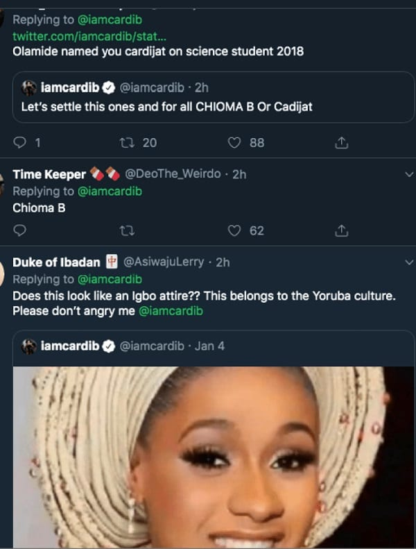Cardi B demande de l'aide pour choisir un nom nigérian