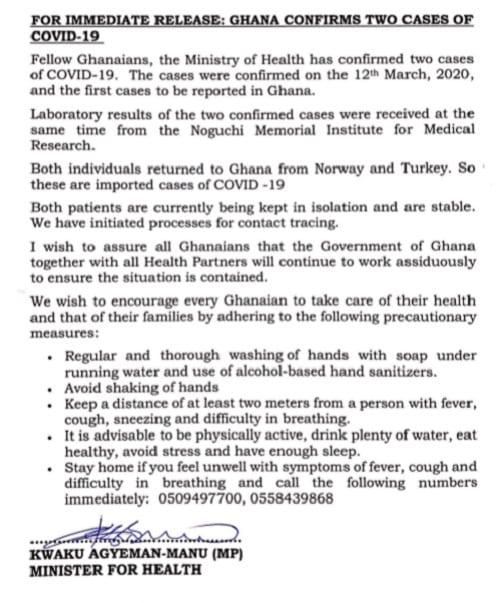 Ghana: deux cas de  coronavirus confirmés dans le pays