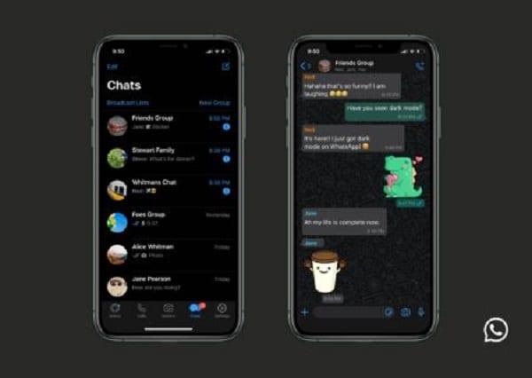 """Technologie: WhatsApp présente le """"mode sombre"""""""