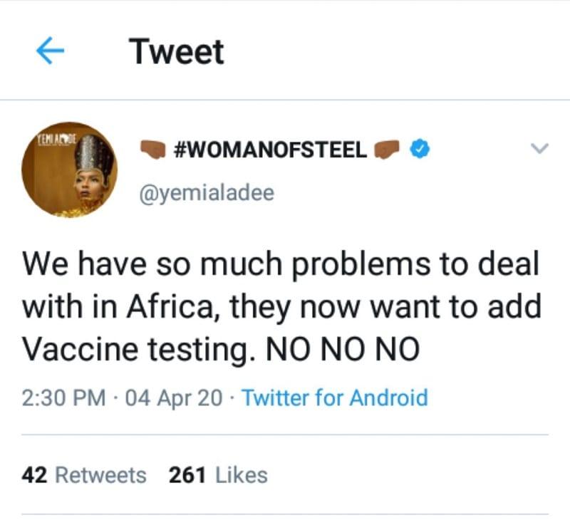 La RDC prête à accueillir des essais d'un vaccin contre le Covid-19, Yemi Alade réagit!