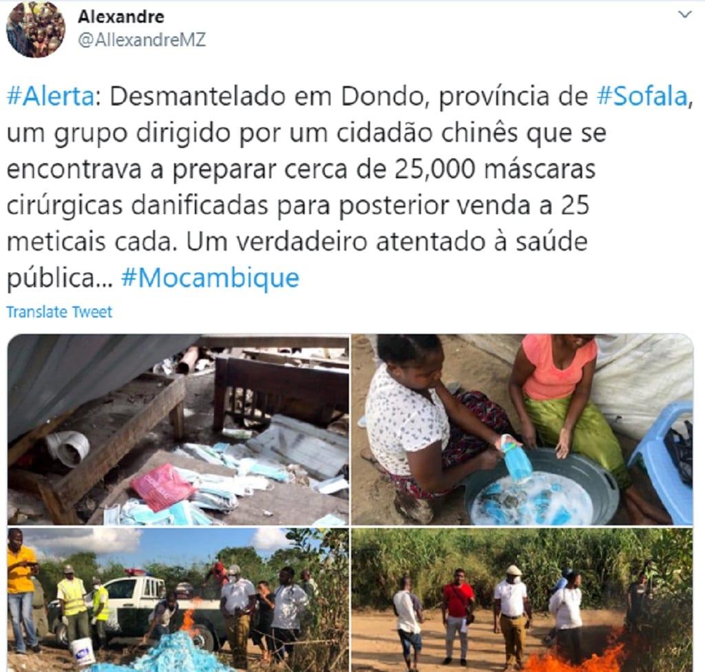 Mozambique: des femmes surprises en train de laver des masques usagés pour  les revendre