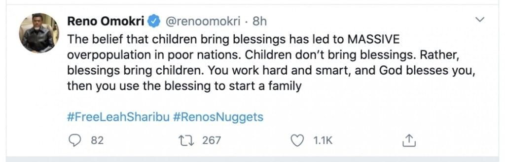 """Reno Omokri : """"les enfants n'apportent pas de bénédictions, Dieu récompense ceux qui travaillent dur"""""""