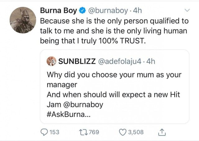 People: Burna Boy explique pourquoi il a pris sa mère comme manager-Photo