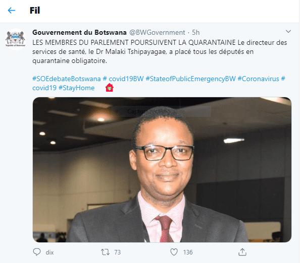 Le président, les ministres et les parlementaires en quarantaine au Botswana