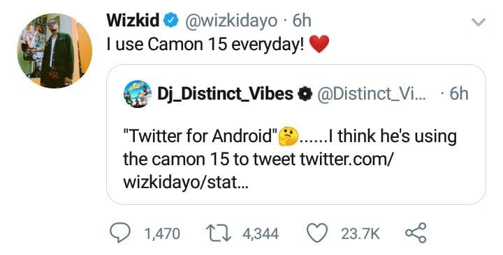 Wizkid: un fan surpris qu'il twitte avec un téléphone android... le chanteur répond
