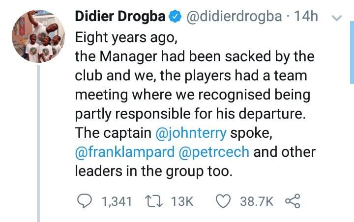 Ligue des champions: Drogba fait une révélation sur le sacre de Chelsea