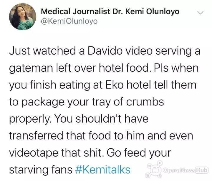 « Davido a donné à son gardien les restes de nourriture » : la journaliste Kemi Olunloyo s'en prend une fois de plus au chanteur