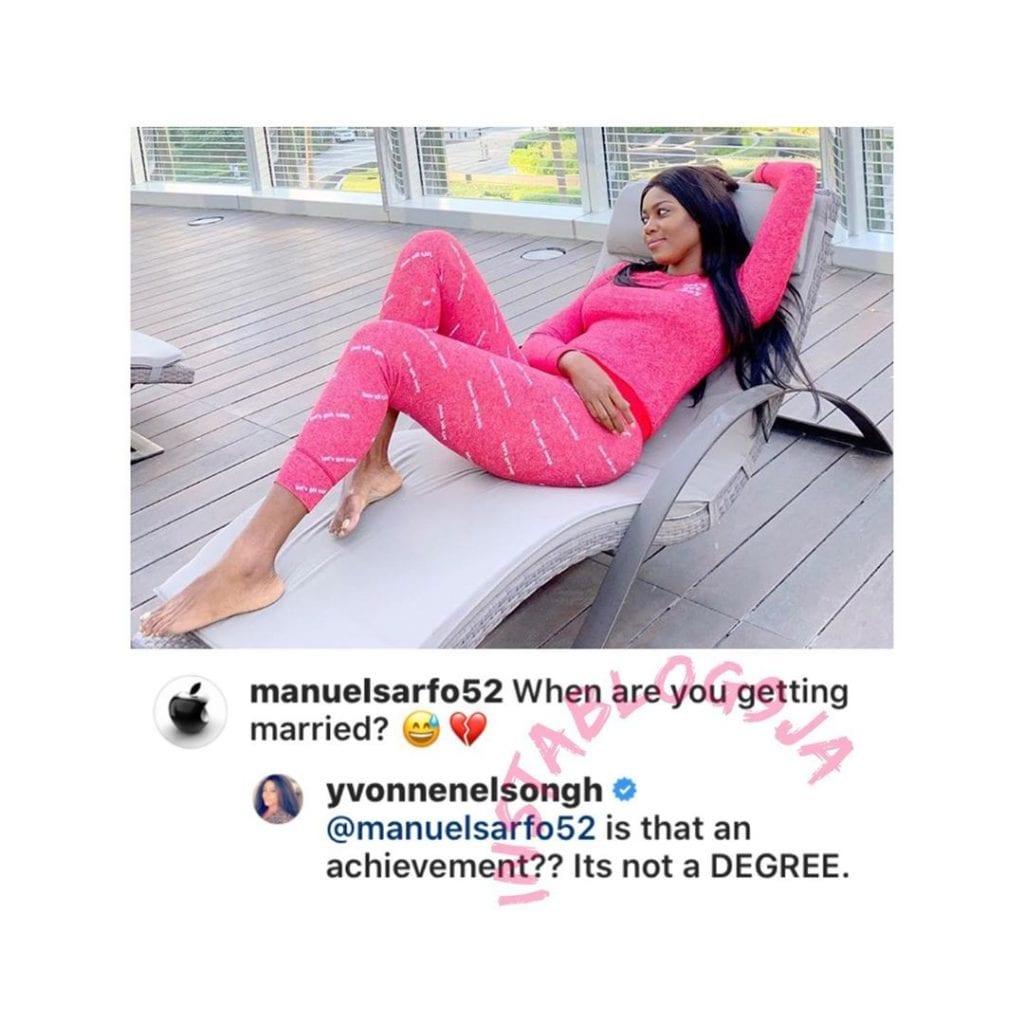 « Est-ce une réalisation ? »: Yvonne Nelson répond à un fan qui lui demande de se marier