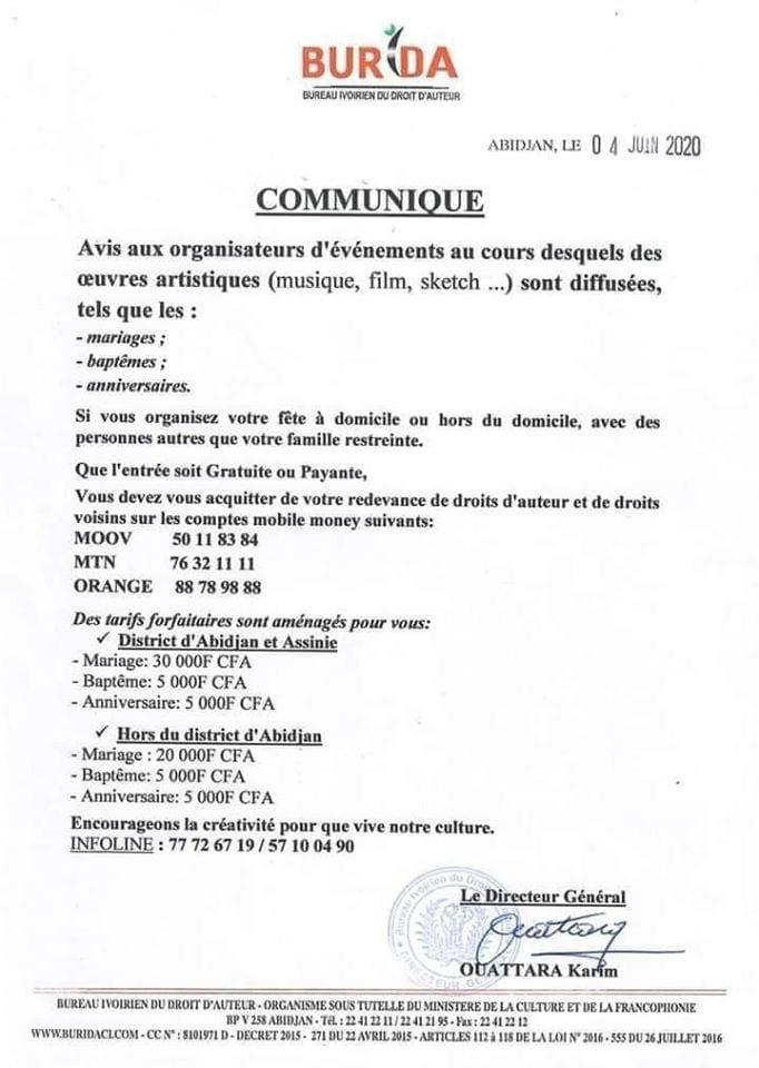 Côte d'Ivoire : toutes œuvres artistiques jouées lors d'un mariage, baptême et anniversaire sont désormais payantes- Burida