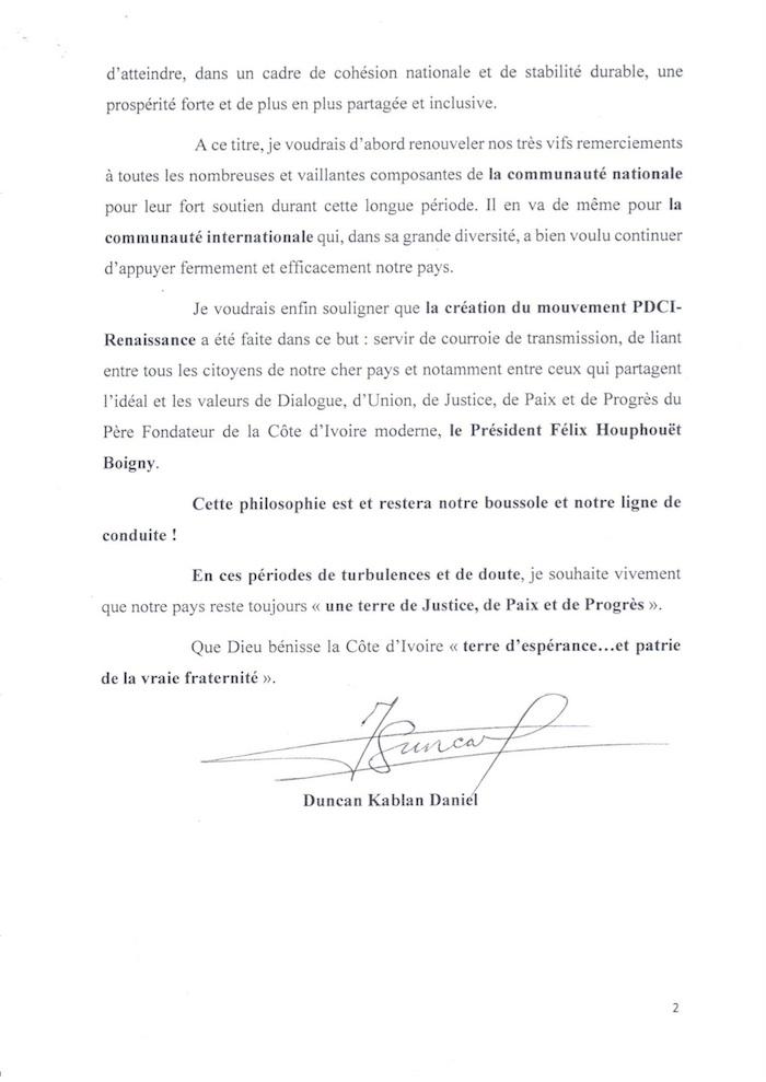 """Côte d'Ivoire : Daniel Kablan Duncan évoque des """"périodes de turbulences et de doute"""" dans le pays"""