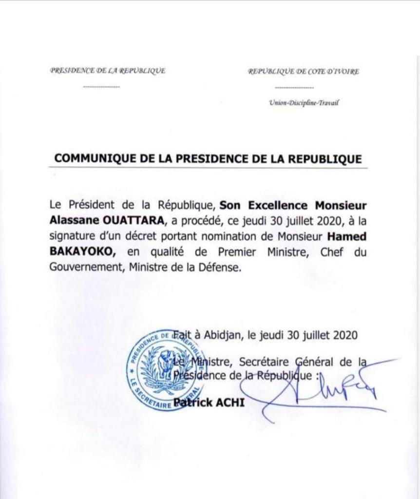 Hamed BAKAYOKO nommé Premier Ministre de Côte d'Ivoire