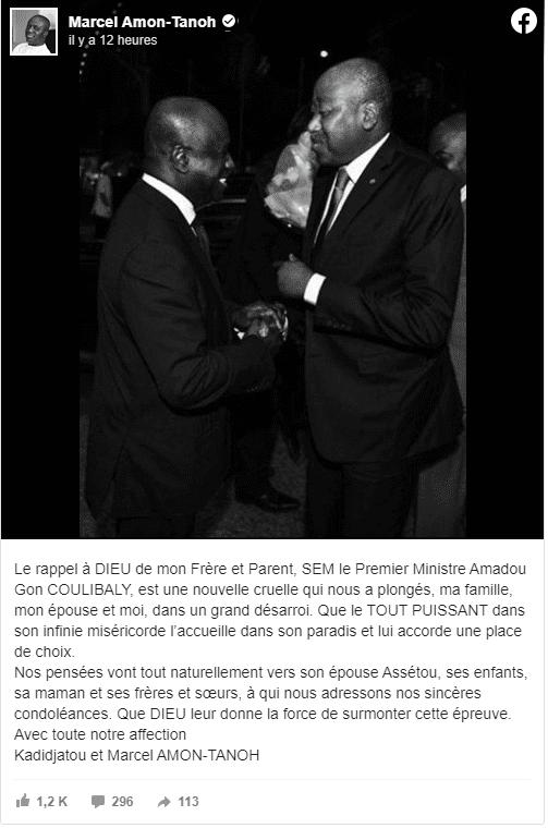 Décès d'Amadou Gon Coulibaly: Soro Guillaume, Konan Bédié, Macky Sall...Les réactions se multiplient sur la toile!