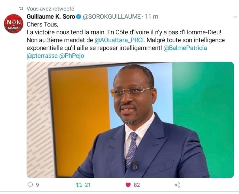Guillaume Soro à Alassane Ouattara : « Qu'il aille se reposer intelligemment »
