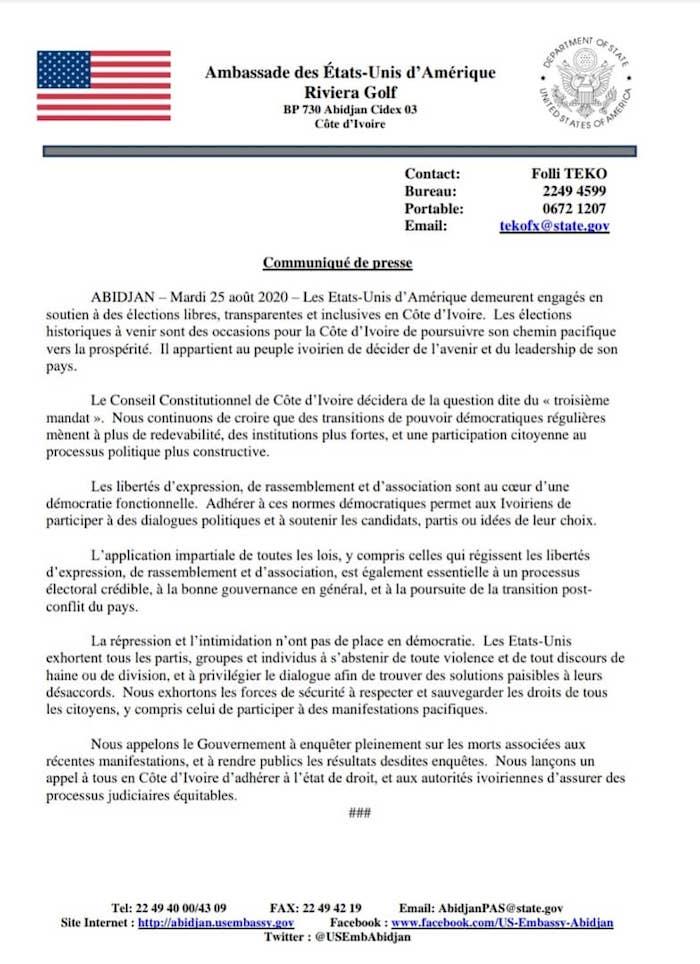 Présidentielle en Côte d'Ivoire / Répression des manifestants : Donald Trump prend position