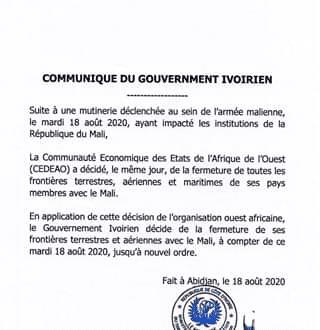 IBK rasé, la Côte d'Ivoire ferme ses frontières avec le Mali- Communiqué