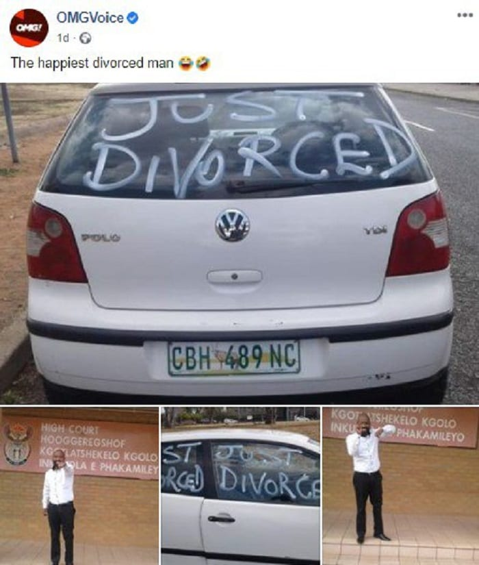 Un homme se promène en ville pour célébrer son divorce d'avec sa femme-photos