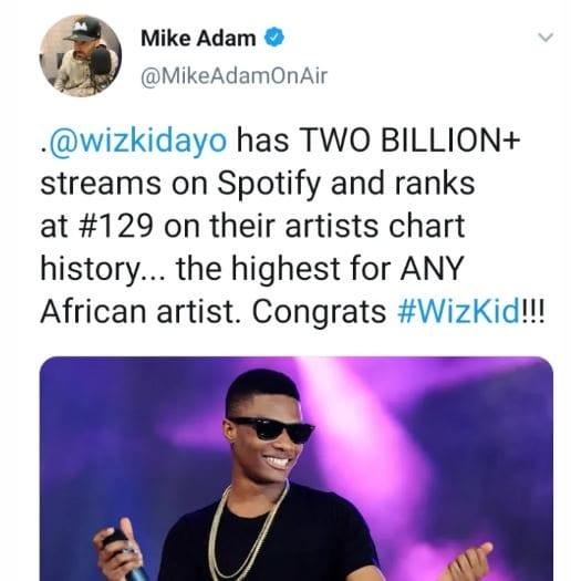 Wizkid devient le premier artiste africain à atteindre 2 milliards de streaming sur Spotify