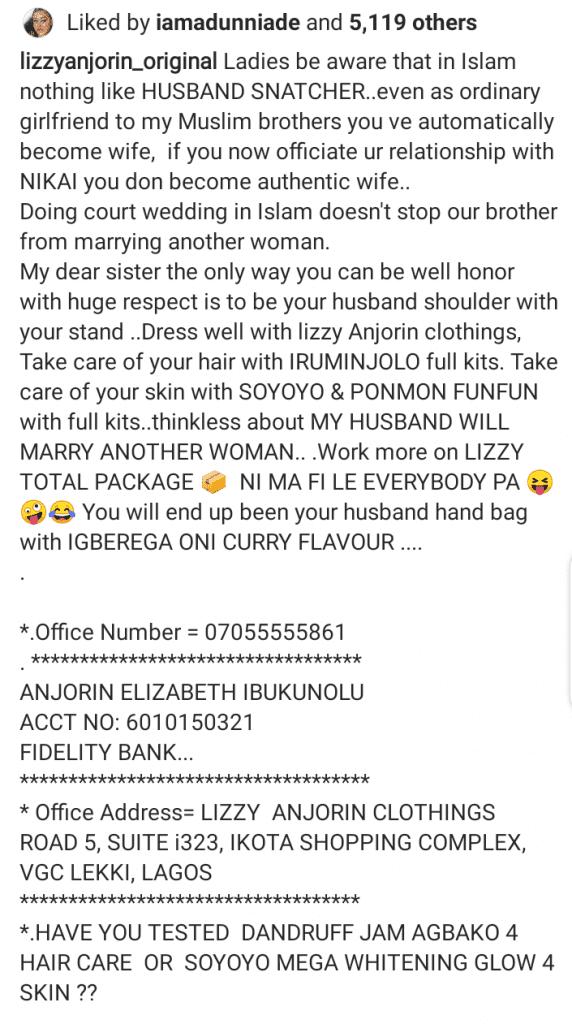 """""""Il n'y a pas de voleuse de mari dans l'Islam"""", dixit une actrice nigériane"""