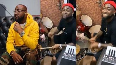 Photo de Davido tout heureux joue à la batterie dans une église: Vidéo