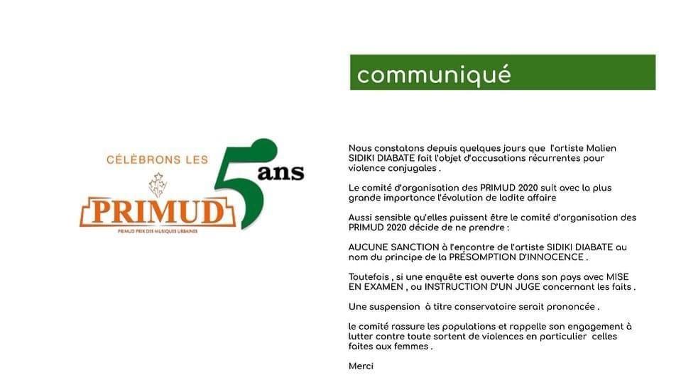 Affaire violence conjugale, Le Molare prend une décision concernant la participation de Sidiki Diabaté au PRIMUD