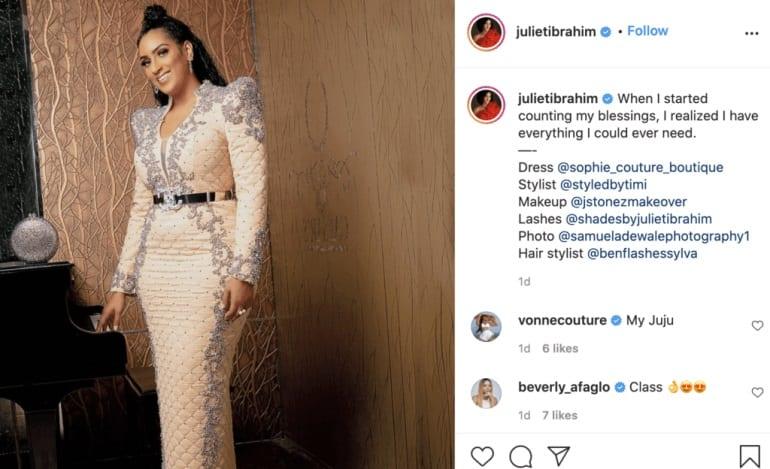 Juliet Ibrahim: «J'ai tout ce dont je pourrais avoir besoin»